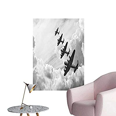 Wall Decals Retro Image of Lancaster Bomber Jets from Battle Royal Air Force in Clouds Environmental Protection Vinyl