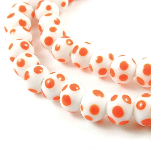 White + Orange Dotted Round Glass Beads, Fall Halloween Lampwork 8mm (62 Pieces)