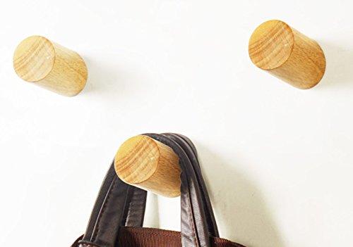 Hook Wood Coat Rack (Wood Coat Hooks Peg Backpack Hanger Round Wall Mounted Heavy Duty Coat Rack Wood Hook 3PC)