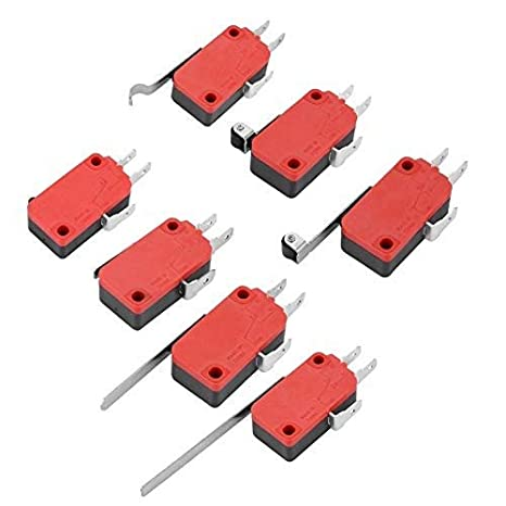 Micro Interruttore 10Pz Mini Interruttore a Levetta Rosso SPDT 3 Pins Micro Switch Roller Lever Microinterruttori a leva per Arcade Game