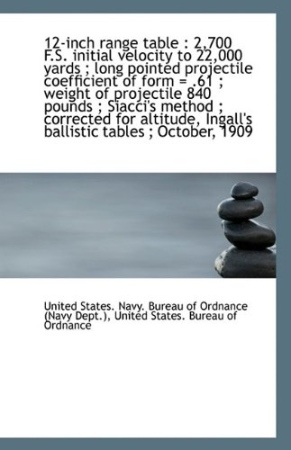 12-inch range table: 2,700 F.S. initial velocity to 22,000 yards ; long pointed projectile coeffici pdf