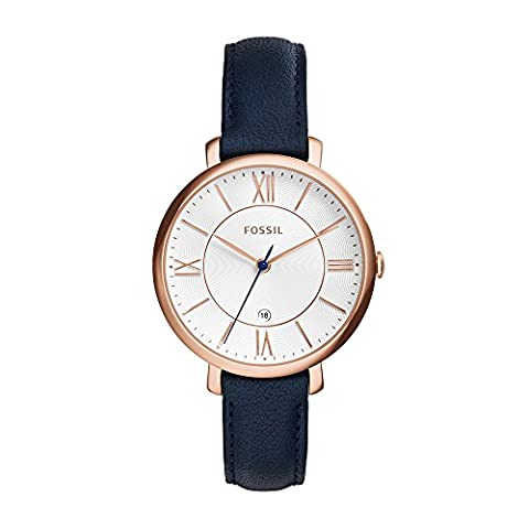 Fossil ES3843 Jacqueline Rose Gold-Tone Watch with Navy Leather Band (Watch With Date)