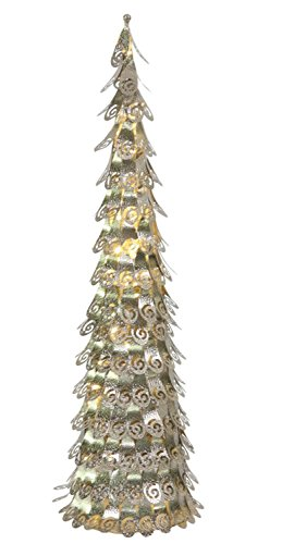 4' Pre-Lit Champagne Christmas Cone Tree Yard Art Decoration - Warm Clear LED Lights by Vickerman