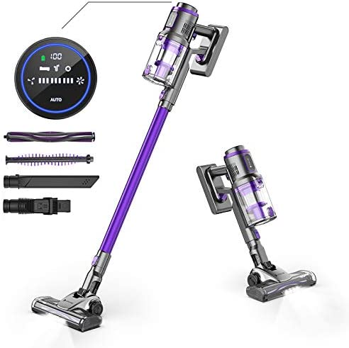 Hosome Cordless Vacuum Cleaner 22Kpa LED Screen Touch Controls 4 in 1 Handheld Lightweight Cordless Stick Vacuums with Storage Base,43 Mins Runtime Rechargeable Battery for Home Floor Carpet Pet Hair