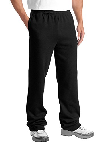 (KNOCKER Men's Classic Heavy Duty Fleece Sweatpants Black L)