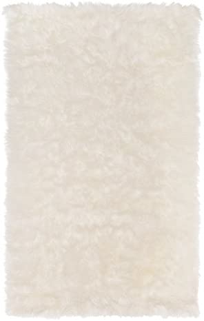 SLPR High Pile Rectangular Faux Sheepskin Rug 3 x 5 , White Super Area Rug Soft Fur Accent for Chair Bedroom Living Room Cottage Cabin