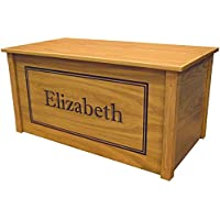 Wood Toy Box Large Oak Toy Chest, Personalized Shadow Font, Custom Options (Cedar Base)