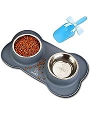 Pecute Ciotole per Cani Gatti in Acciaio Inox con Tappetino Silicone Antiscivolo (M (14 oz *2, 2 * 400ml/ciotola)) …