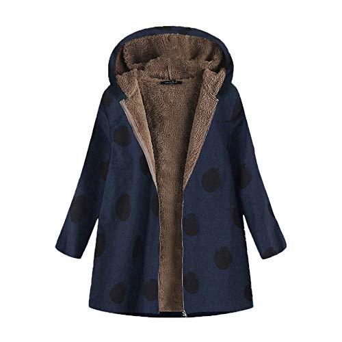 (Women Winter Warm Outwear Dot Print Hooded Pocket Zipper Vintage Casual Oversize Coat(M,Navy))