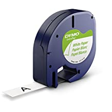 """DYMO LetraTag Labeller Tape, Paper Tape Cassette 1/2"""" x 13', 1-Carded, Paper White (91330)"""