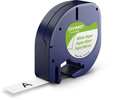 DYMO LetraTag Labeling Tape for LetraTag Label Makers, Black print on White paper, 1/2