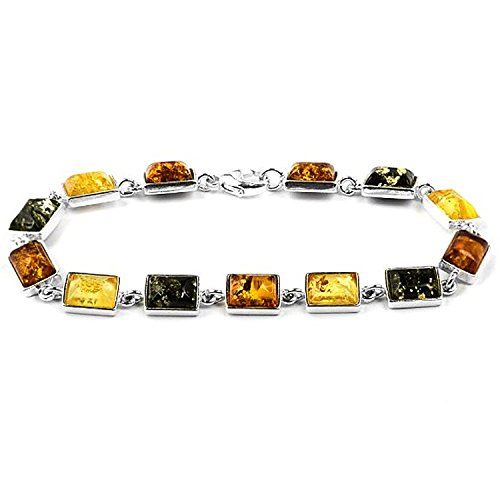 Sterling Silver Multicolor Amber Classic Simple Rectangular Bracelet Length 7.5 Inches