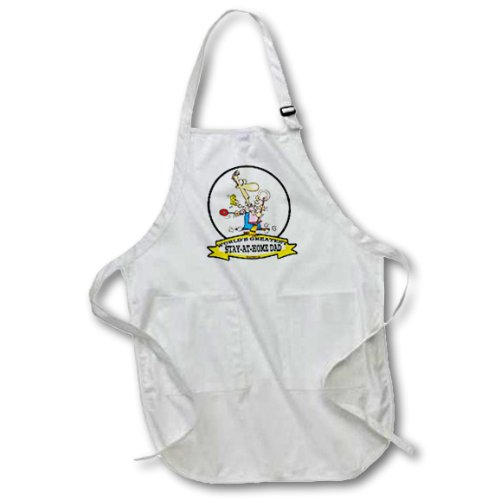 3dRose Funny Worlds Greatest Stay at Home Dad Occupation Job Cartoon - Full Length Apron, 22 by 30-Inch, White, with Pockets (apr_103587_1)