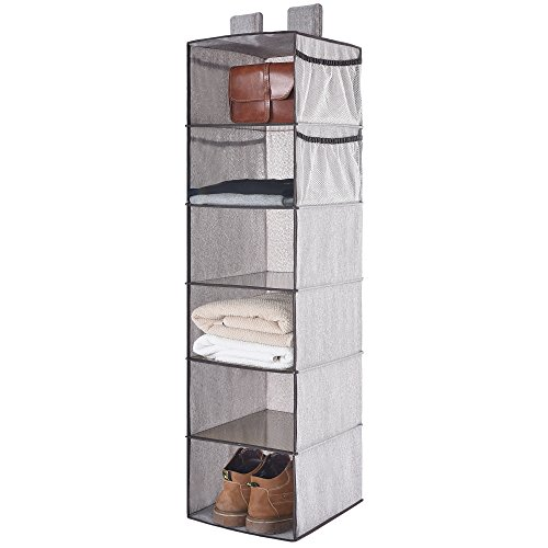 Hanging Closet Organizer With Strong Shelf Of Loading, Collapsible Hanging Accessory Organizer With 4 Side Pocket By StorageWorks, Gray,6 Shelves, 12x12x42 in