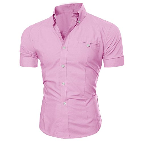 (Realdo Mens Shirt, Summer Casual Solid Short Sleeve Button Down T-Shirt Top Blouse(Pink,Medium) )