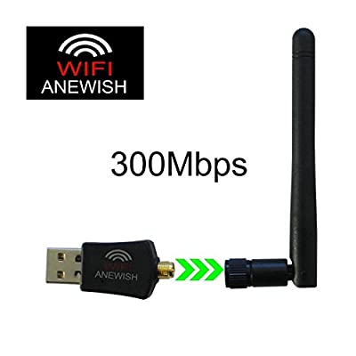 ANEWISH Wifi Adapter 300Mbps Wifi Dongle 2.4GHz Wireless N USB Adapter with High Gain Antenna for Desktop PC WindowsXP/Vista/Mac/Linux/Win7/8/8.1/10