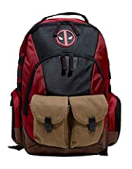 Deadpool Back Pack Bag Built Up Combat Ready Angry Face Logo new Official Red. Measures 50 cm x 35 cm x 13 cm. Back Pack has 2 large compartments and 3 smaller pockets on the front