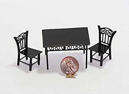 Dollhouse black table and 2 chairs 1:12 scale