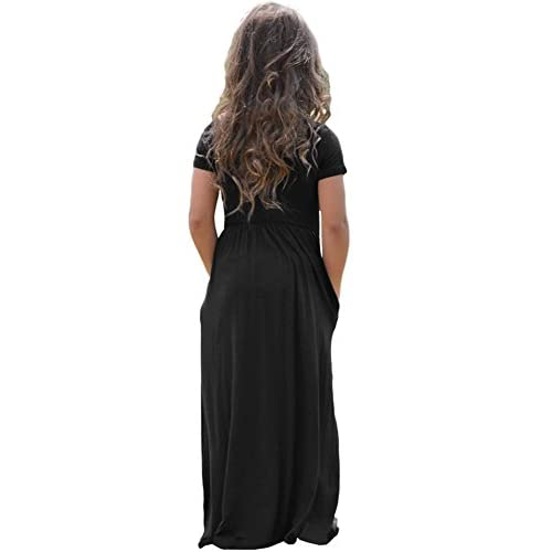 Alvaq Girls Cap Sleeve Cinched Long Maxi Dress Casual Size 4 14