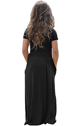 AlvaQ-Girls-Cap-Sleeve-Cinched-Long-Maxi-Dress-Casual-Size-4-14-Years-Old