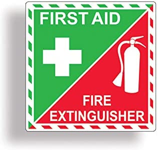 First Aid and Fire Extinguisher On Board Self Adhesive Stickers Safety Signs