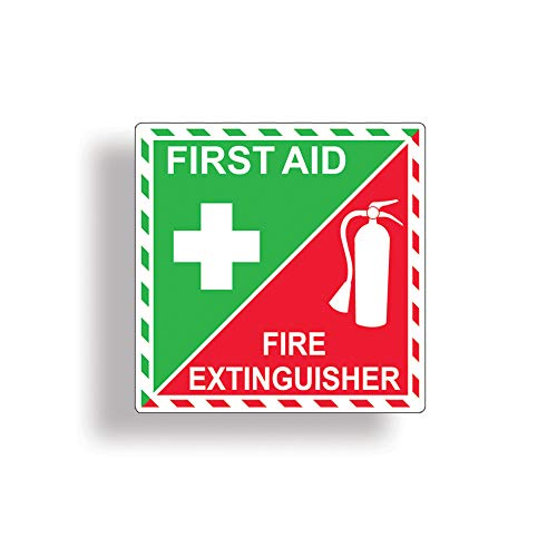 First Aid Kit/Fire Extinguisher Inside Sticker for Emergency Safety Box or Kit Rescue Alert 911 Decal ()
