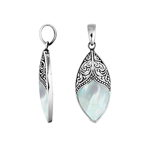 - Bali Designs Sterling Silver Marquise Shape Pendant with Mother of Pearl AP-6195-MOP
