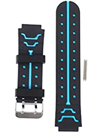 Kids Watch Strap - Silicone Strap Waterproof Strap Boys and Girls Universal Strap for Four Generations of Childrens Phone Watches(Black and Blue)