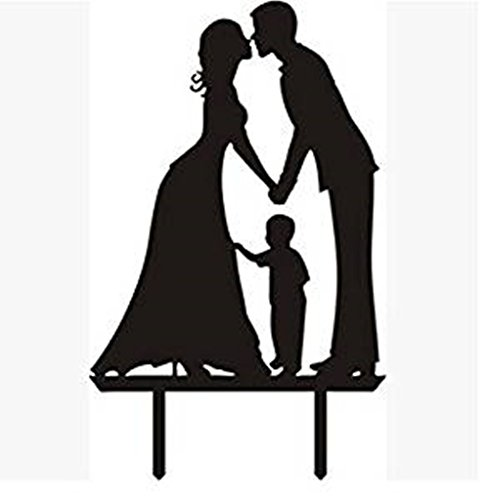 Groom Stand (Acrylic Wedding Cake Toppers Birthday Cake Stand Groom and Bride with Little Boy Family Party Cake Decoration Kissing Cake Decorations)