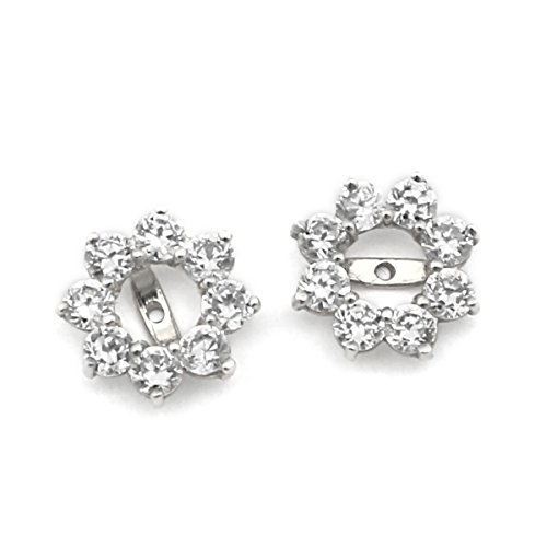 Earring Cubic Jackets Zirconia - 14k White Gold 10mm Cubic Zirconia Halo Earring Jackets