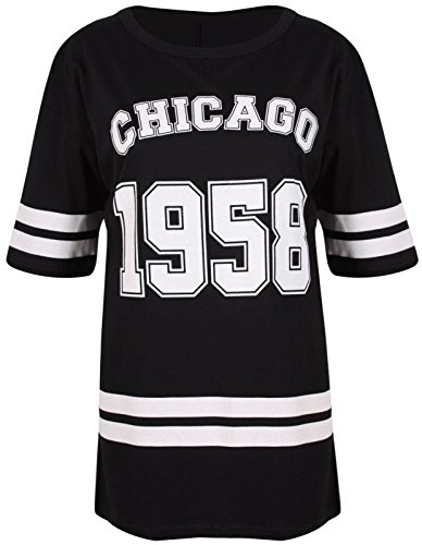 New Womens Oversize 1958 Chicago Print Baggy T-shirt Tops ( Black , UK 16-18 / EU 44-46 )