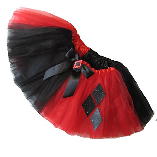 Harlequin Plus Size Costumes (Southern Wrag Company Big Girls Adult RED BLACK Harlequin Tutu SHORT 11in Length (XL: TUTU WAIST 34-60))