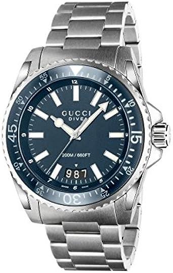 Reloj Gucci GUCCI Dive ya136203al Cuarzo (batería) Acero quandrante Azul Correa Acero