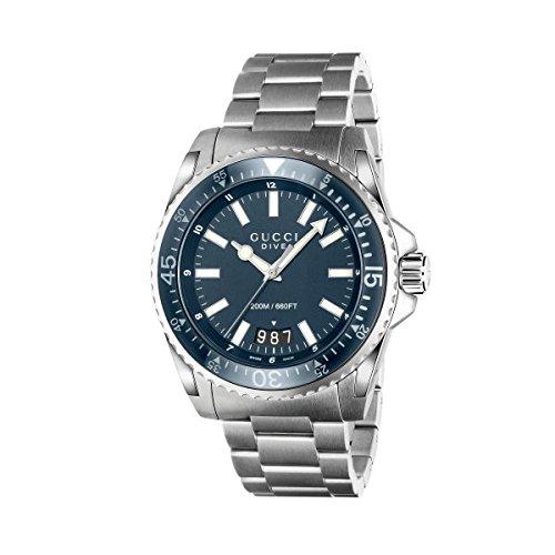 Reloj Gucci GUCCI DIVE ya136203 al cuarzo (batería) acero quandrante Azul Correa Acero: Amazon.es: Relojes