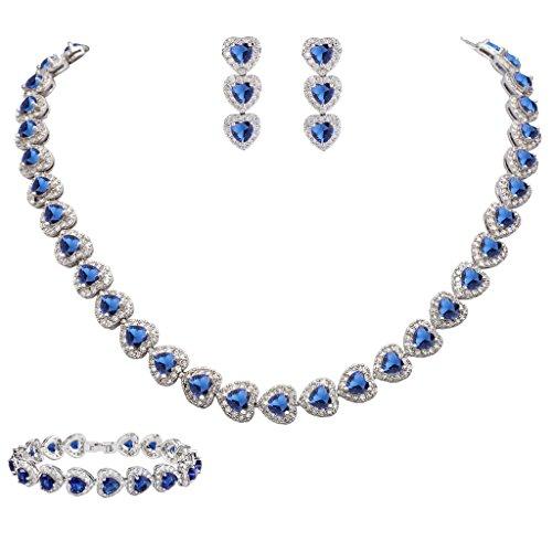 EVER FAITH Women's CZ Stunning Love Heart Tennis Necklace Earrings Bracelet Set Royal Blue Silver-Tone (Tennis Necklace Earrings)