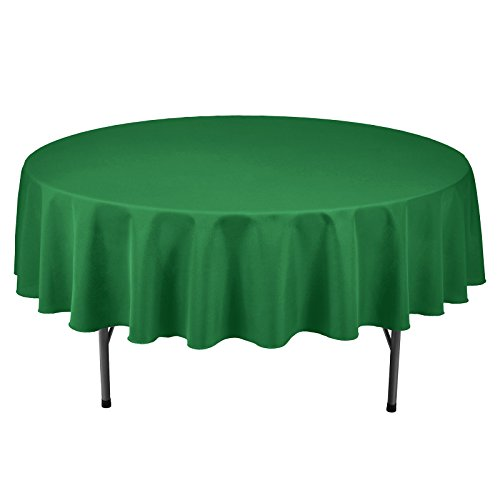 VEEYOO Round Tablecloth 100% Polyester Circular Bridal Shower Table Cloth - Solid Soft Dinner Table Cover for Wedding Party Restaurant (Green, 90 -