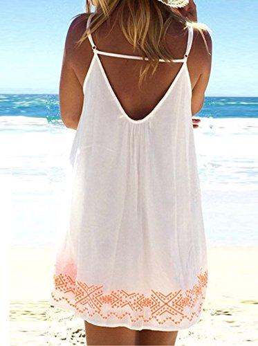 Neu Damen Strandkleid Minikleid Oberteile Sexy ärmellos rückenfrei Sling  Blumen bedruckt Neckholder Cover Up Frauen Sommerkleid ... b67c70ca4d
