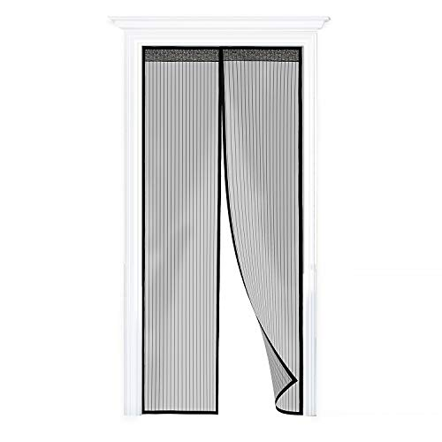 WENFENG Magnetic Screen Door, Heavy Duty Bug Screen Door with Full Frame Velcro Fits Door Size Up to 34 x 82 inch Max (Large)
