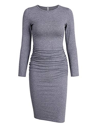 Missufe Women's Ruched Casual Sundress Midi Bodycon Sheath Dress (Long Sleeve Grey, Small)