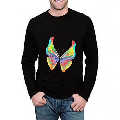 (LucyLucy Rule Art Butterflies Painting Crew Neck Cute Base Big Long Sleeve Mens T-shirt Size XXXL)