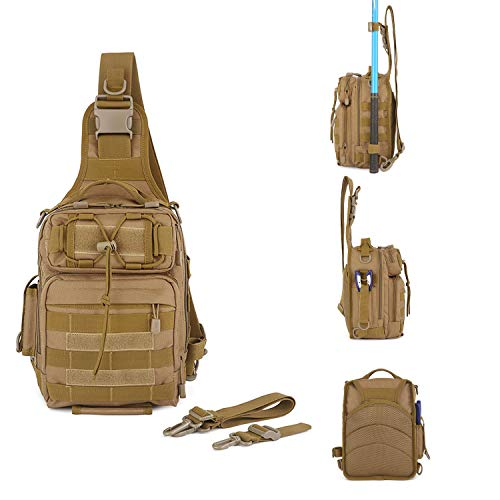 Huntvp Outdoor Tactical Backpack,Military Sport Pack Daypack Shoulder Backpack for Camping, Hiking, Trekking,Rover Sling Pack Chest Pack (Brown) from Huntvp