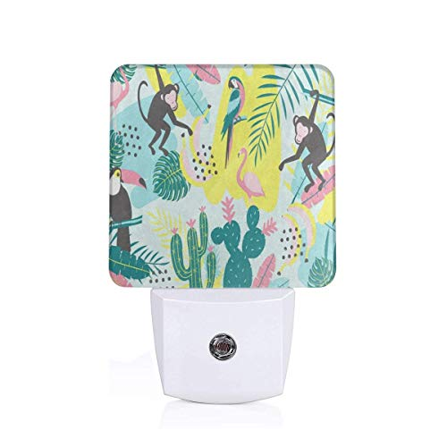 Tropical Flamingo Bird Monkey Cactus Palm Tree Banana Plug-in Night Light Warm White LED Nightlight with Auto Dusk to Dawn Sensor, Perfect for Kids Room, Hallway, Bedroom, Kitchen, -
