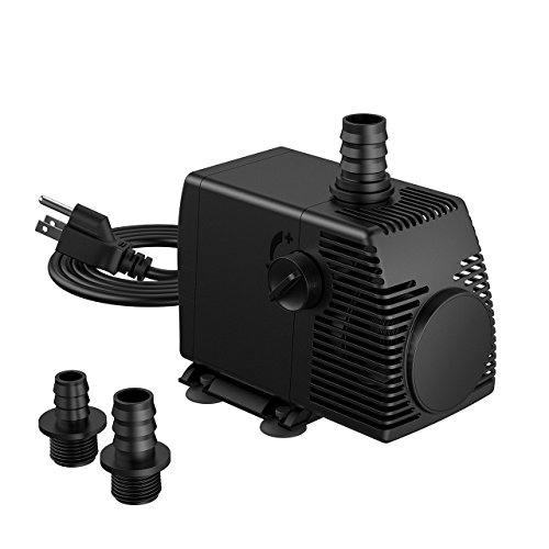 Homasy 800GPH (3000L/H, 55W) Submersible Water Pump, Ultra Quiet Fountain Pump with 4.1ft Power Cord, 3 Nozzles for Aquarium, Fish Tank, Pond, Statuary, Hydroponics (Fountain Pump Filter)