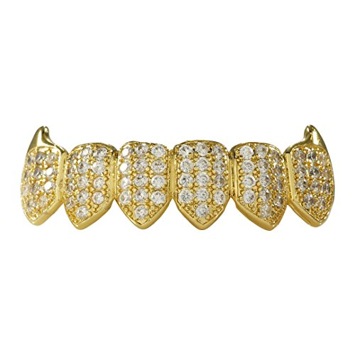 (NIV'S BLING - 18k Yellow Gold-Plated Cubic Zirconia Cluster Fanged Grillz (Top/Bottom/Set) (Bottom Only))