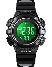 SKMEI Baby Sports Chronograph Watch - Water Resistant up to 50M - Boys Girls - LED 4 Light Alarm - Digital - Black