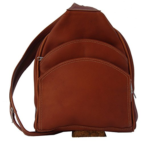 Piel Leather Three Pocket Sling Bag in Saddle by Piel Leather