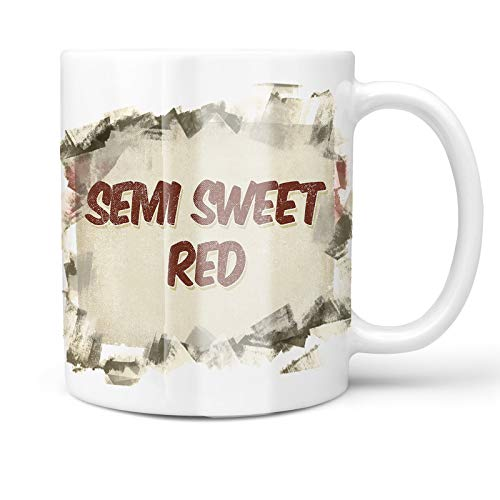 (Neonblond 11oz Coffee Mug Semi Sweet Red Wine, Vintage style with your Custom Name)