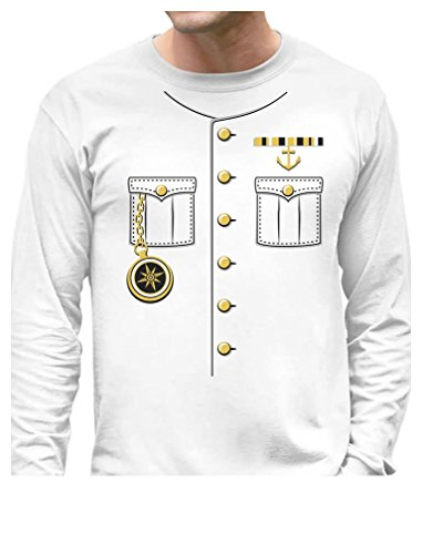 [TeeStars - Ship Captain Halloween Costume Outfit Suit Long Sleeve T-Shirt X-Large White] (Ship Captain Costumes)