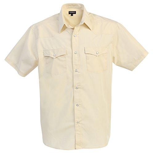 Gioberti Mens Casual Western Solid Short Sleeve Shirt with Pearl Snaps, Ivory, (2 Pocket Shirt)