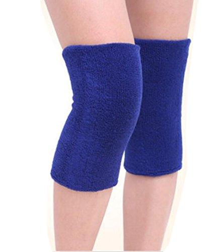 ericotry 1Pair Supper Elastic Towel Knee Pads Dance Protection Cover Elderly Leggings Support Sports Fitness Unisex Winter Warm Thermal Knee Sleeves Joint Pain Arthritis Relief Lady Men (Blue)